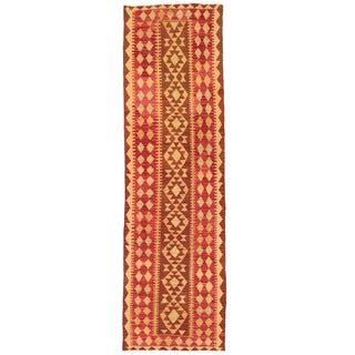 Herat Oriental Afghan Hand-woven Mimana Kilim Rust/ Gold Wool Runner (2'10 x 9'9)