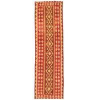 Herat Oriental Afghan Hand-woven Wool Mimana Kilim Runner (2'10 x 9'9) - 2'10 x 9'9