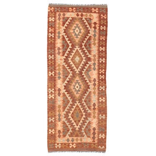Herat Oriental Afghan Hand-woven Mimana Kilim Rust/ Gray Wool Runner (2'7 x 6'4)