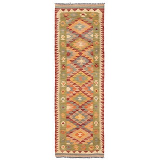Herat Oriental Afghan Hand-woven Mimana Kilim Red/ Green Wool Runner (2'2 x 6'7)