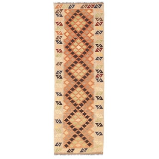 Herat Oriental Afghan Hand-woven Mimana Kilim Rust/ Ivory Wool Runner (2' x 6'4)