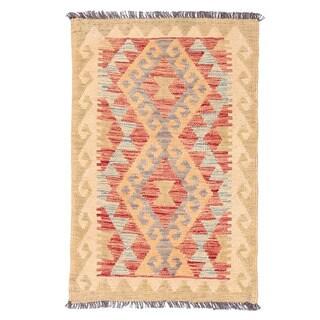 Herat Oriental Afghan Hand-woven Mimana Kilim Red/ Ivory Wool Rug (1'11 x 3')