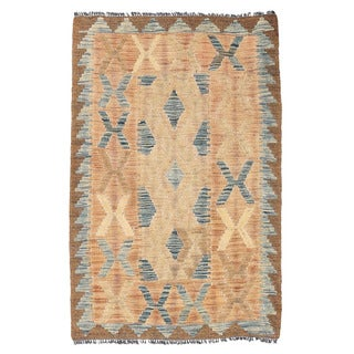Herat Oriental Afghan Hand-woven Mimana Kilim Ivory/ Blue Wool Rug (2' x 3'2)
