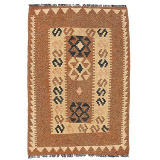 Herat Oriental Afghan Hand-woven Wool Mimana Kilim (2'1 x 3'2)
