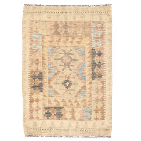 Handmade One-of-a-Kind Wool Mimana Kilim (Afghanistan) - 2' x 2'10