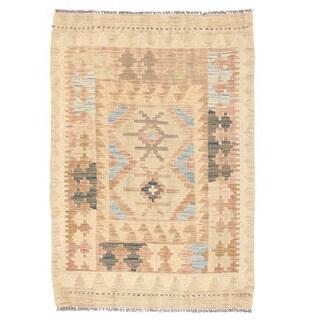 Herat Oriental Afghan Hand-woven Wool Mimana Kilim (2' x 2'10)