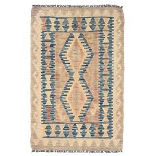 Herat Oriental Afghan Hand-woven Mimana Kilim Tan/ Blue Wool Rug (1'10 x 2'10)