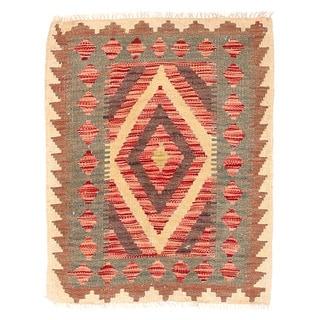 Herat Oriental Afghan Hand-woven Mimana Kilim Red/ Ivory Wool Rug (2' x 2'6)