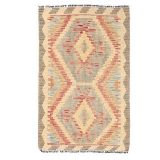 Herat Oriental Afghan Hand-woven Mimana Kilim Gray/ Gold Wool Rug (1'10 x 2'11)