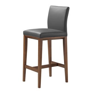 Aurelle Home Lowe Mid Century Modern Grey Leather Bar Stool
