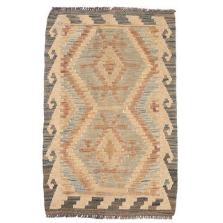 Herat Oriental Afghan Hand-woven Mimana Kilim Gray/ Ivory Wool Rug (1'10 x 2'10)