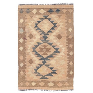 Herat Oriental Afghan Hand-woven Mimana Kilim Tan/ Ivory Wool Rug (1'10 x 2'11)