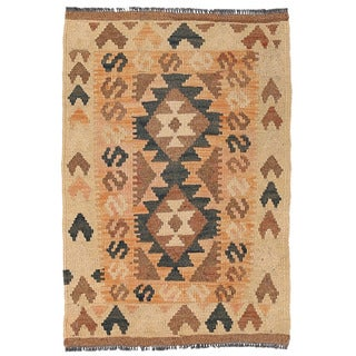 Herat Oriental Afghan Hand-woven Wool Mimana Kilim (1'10 x 2'9)