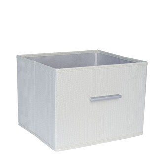 Household Essentials White Canvas Open Storage Bin With Aluminum Handles
