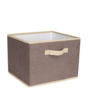 Household Essentials Brown Linen 10-inch x 13-inch x 11.5-inch Open Storage Bin