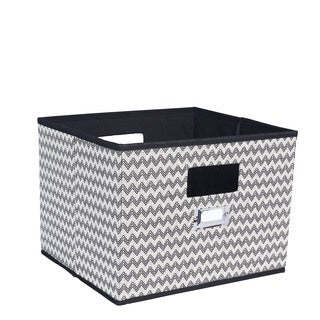 Household Essentials Black and Grey Canvas Storage Bin With Cutout Handles