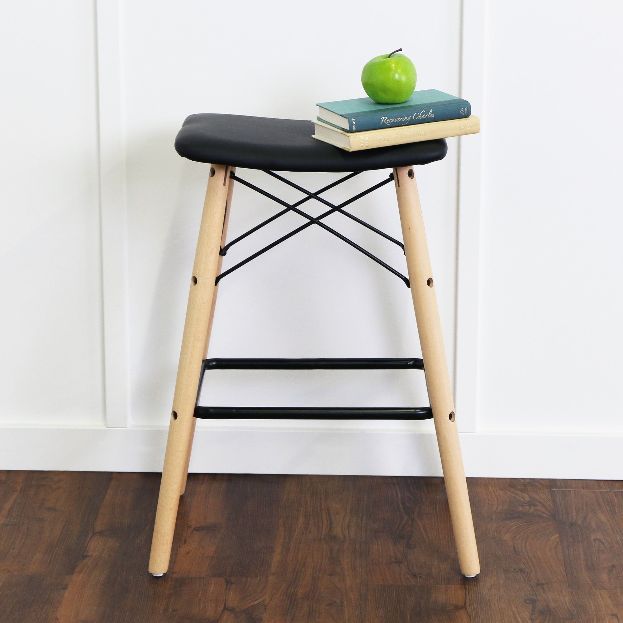 Shop 26 Inch Retro Modern Faux Leather Counter Stool