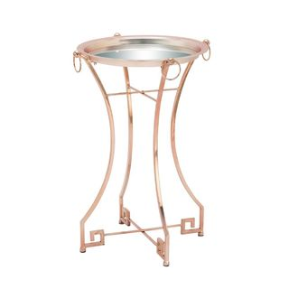 Pink Metal Mirror-top Accent Table