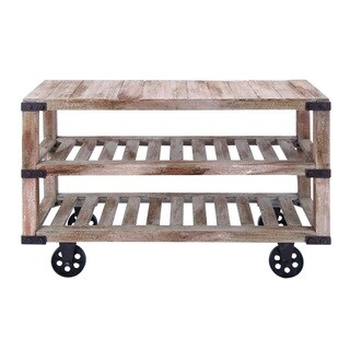 Brown Wood Rustic Console Cart With Portable Wheels