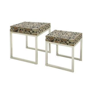 Teak and Steel Nesting Tables (Set of 2)