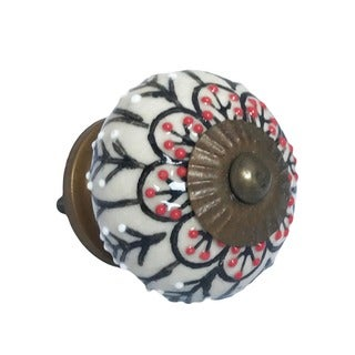 Black and Red Ceramic Decoraitve Flower Knobs (Pack of 6)