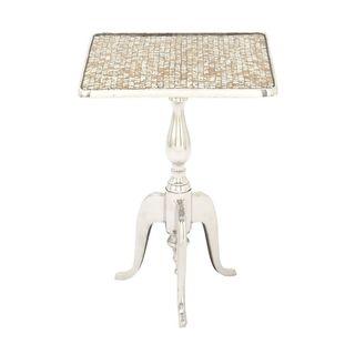 Silver Finish Aluminium/Tile Mosaic Square Table