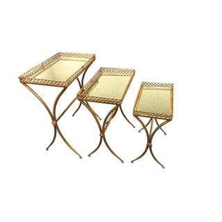 Goldtone Metal Square Top Tables (Pack of 3)