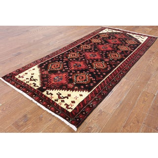 Hand-Knotted Oriental Persian Black Wool Rug (3'10 x 8'9)