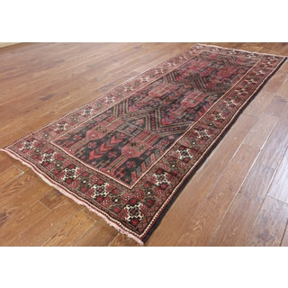 Hand-Knotted Oriental Persian Black Wool Rug (4'1 x 10'1)