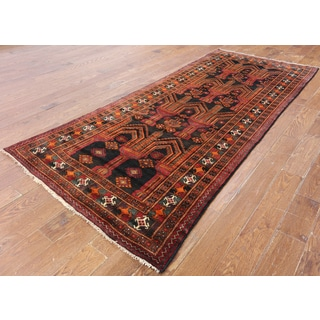 Hand-Knotted Oriental Persian Black Wool Rug (4'1 x 9'8)