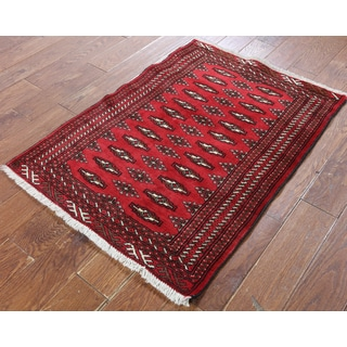 Hand-Knotted Oriental Persian Bokhara Red Wool Rug (2'9 x 3'8)