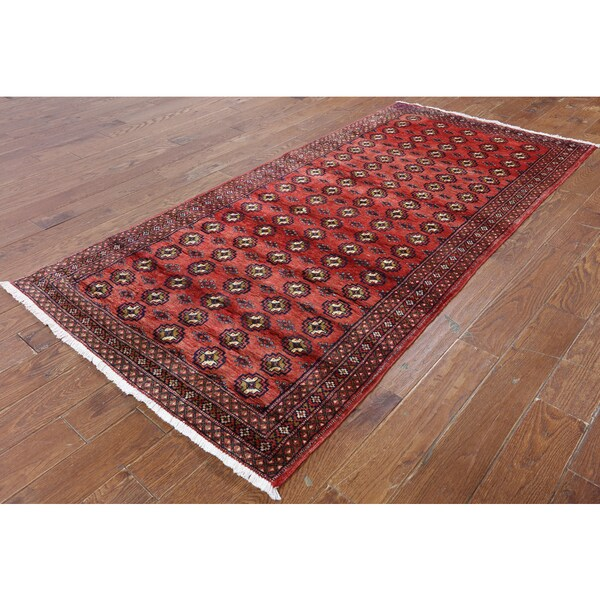 Persian Bokhara Hand Knotted Wool Area Rug: Hand-Knotted Oriental Persian Bokhara Red Wool Rug (3'10 X