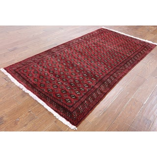 Hand-Knotted Oriental Persian Bokhara Red Wool Rug (3'10 x 7'2)