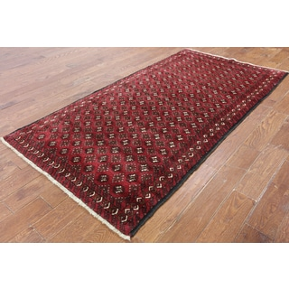 Hand-Knotted Oriental Persian Bokhara Red Wool Rug (3'10 x 7'6)