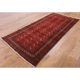 Hand-Knotted Oriental Persian Bokhara Red Wool Rug (3'7 x 7'6)