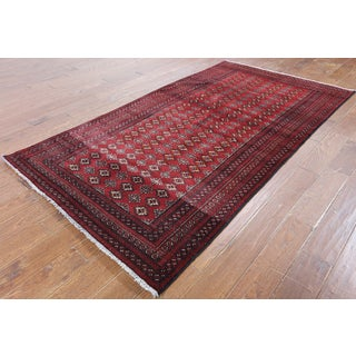 Hand-Knotted Oriental Persian Bokhara Red Wool Rug (4'5 x 8'1)