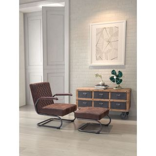 Father Faux Leather Lounge Chair and Ottoman Set