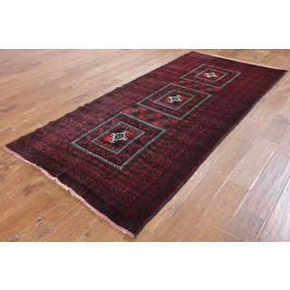 Hand-Knotted Oriental Persian Red Wool Rug (3'10 x 7'10)