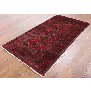 Hand-Knotted Oriental Persian Red Wool Rug (3'3 x 6'2)
