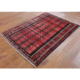 Hand-Knotted Oriental Persian Red Wool Rug (3'8 x 4'10)