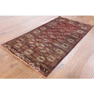 Hand-Knotted Oriental Persian Red Wool Rug (3'8 x 7'0)