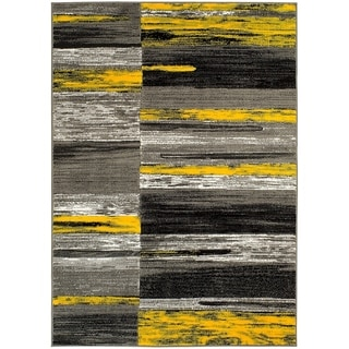Lyke Home Yellow/Grey Olefin Machine-made Area Rug (5' x 7')