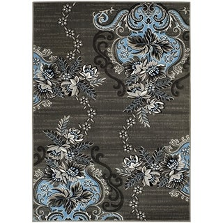 LYKE Home Charcoal/Blue Olefin Machine-made Area Rug (5' x 7')