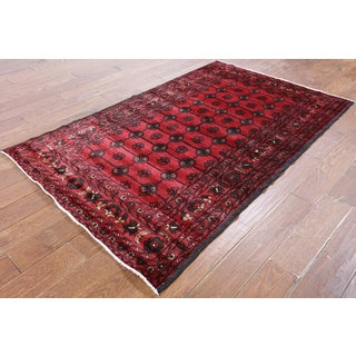 Hand-Knotted Oriental Persian Red Wool Rug (4'0 x 6'6)