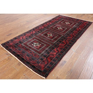 Hand-Knotted Oriental Persian Red Wool Rug (4'1 x 7'10)