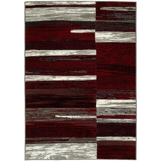Lyke Home Red/Grey Olefin Machine-made Area Rug (5' x 7')