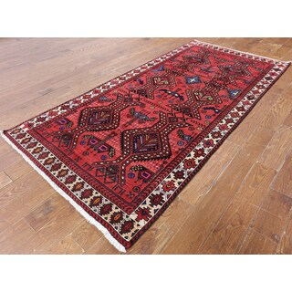 Hand-Knotted Oriental Persian Red Wool Rug (4'3 x 8'9)