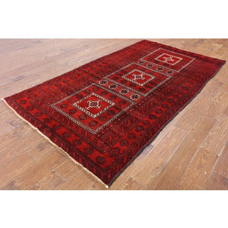 Hand-Knotted Oriental Persian Red Wool Rug (4'3 x 7'10)