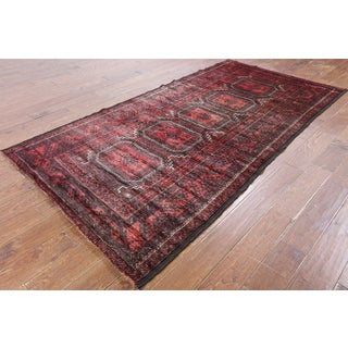 Hand-Knotted Oriental Persian Red Wool Rug (4' 4 x 8'5)