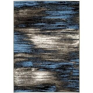 LYKE Home Blue Olefin Abstract Area Rug (5' x 7')